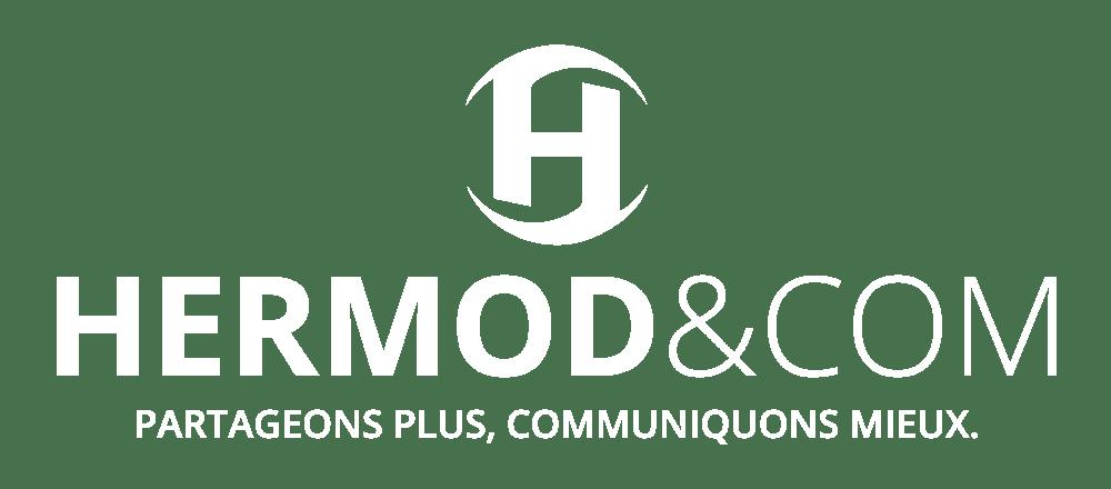 Le logo blanc Hermod And Com en grande taille
